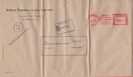 ITALIA - ITALY - ITALIE - 1956 - 105 EMA,Red Cancel - Banca Nazionale Del Lavoro - Raccomandata - Busta + Lettera + Estr - Machine Stamps (ATM)