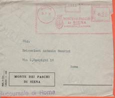 ITALIA - ITALY - ITALIE - 1937 - 25 EMA,Red Cancel - Banca Monte Dei Paschi Di Siena - Busta + Distinta Incasso - Viaggi - Machine Stamps (ATM)