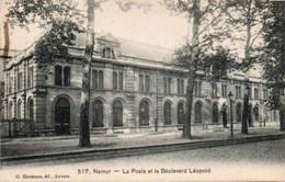 Namur   La Poste Et Le Boulevard Léopold Circulé En 1910 - Namur