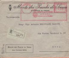 ITALIA - ITALY - ITALIE - 1934 - 1,75 EMA,Red Cancel - Banca Monte Dei Paschi Di Siena - Raccomandata - Busta + Lettera - Machine Stamps (ATM)