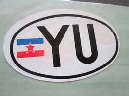 """YU"" YUGOSLAVIA, AUTOCOLLANT, CARSTICKER, 11 Cm - Aufkleber"