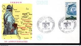 FDC Lettre Illustrée Premier Jour Verdun 28/5/1966 N°1484 Anniversaire De La Victoire TB - 1960-1969