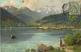 Illustrateur Signé Paysage Lac De Montagne Recto Verso - Paintings