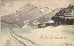 Illustrateur Signé Paysage Montagnard Pailletée Souhaits Sincères Recto Verso - Paintings