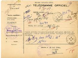 ALLIER TELEGRAMME OFFICIEL GUERRE 1944 MOULINS VOIR LE SCAN - 1921-1960: Periodo Moderno