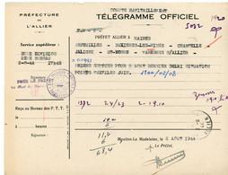 ALLIER TELEGRAMME OFFICIEL GUERRE 1944 LA MADELEINE VOIR LE SCAN - 1921-1960: Periodo Moderno