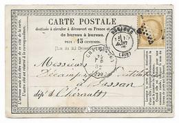 Oblitération CONVOYEUR STATION CHÂTEAUDUN Sur Carte Postale De 1874 - Correo Ferroviario