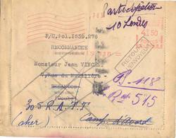 EMA LR PARIS 118 12 X 44 Pour BESANCON DOUBS Renvoyé Au 305 R.A.T.T. CAMP D'AVORD CHER + RETOUR A L'ENVOYEUR - EMA ( Maquina De Huellas A Franquear)