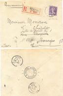 RECOMMANDÉ VIERZON CHER TàD 11-9-12 Pour BOURGES Réexpédié Sur ST ETIENNE LOIRE - 1877-1920: Periodo Semi Moderno