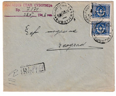Yugoslavia, Letter Cover Registered Posted 1948 Subotica To Beograd B201110 - Cartas