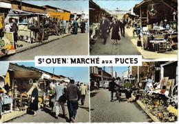 93 SAINT OUEN Marché Aux Puces Animé N°516 4 Vues En 1967 Antiquités Brocante Dyna Panhard Citroën Traction DS - Saint Ouen