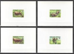UU809 1988 GABON GABONAISE ELEPHANTS FAUNA ANIMALS WWF EXCLUSIVE CARDBOARD 4BL - Otros