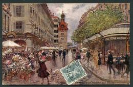 GENEVE - PLACE DU MOLARD ET MARCHE AUX FLEURS - ILLUSTREE PAR GEORGES STEIN - GE Genève