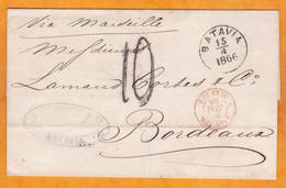 1866 - Enveloppe Pliée De Batavia, Indes Néerlandaises Vers Bordeaux, France - Entrée En Rouge Pays Etr Suez Amb - Niederländisch-Indien