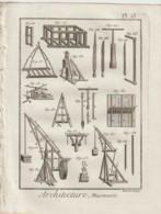 Planches D'Alembert .Architecture Maconnerie - Public Works