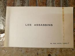 """Les Assassins"" 40 Rue Jacob Paris 8e. ???? - Visiting Cards"