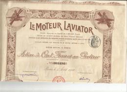 """VP. 0866/ Action 100 Francs Au Porteur """"Le Moteur Laviator"""" - 25 Coupons - Complet - Aviazione"""