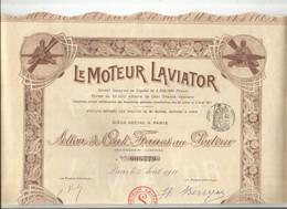 """VP. 0868/ Action 100 Francs Au Porteur """"Le Moteur Laviator"""" - 25 Coupons - Complet - Aviazione"""