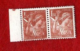 TYPE IRIS 1 F VERT 1939   N° 432  Y&T  2 TIMBRES NEUFS SANS TRACES DE CHARNIERES CURIOSITE OU VARIETE SUR LES VISAGES - Curiosités: 1931-40 Neufs