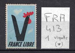 France - Vignette France Libre - Neuve Sans Gomme - Trait De Crayon à Gauche - Coq - Other