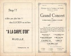 FONDERIE DE RUELLE 16 PROGRAMME MUSIQUE DE LA FONDERIE GRAND CONCERT 1935 - Programmi
