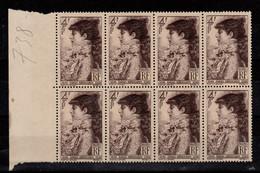 YV 738 N** Sarah Bernhardt En Bloc De 8 , Cote 4 Euros - Neufs