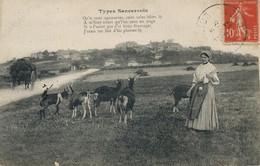 Gardeuse De Chèvre Au Tricot Sancerre  . Berry.  Goat Keeper Knitting. Poem.  Froamge . Crottin Chavignol - Landbouwers