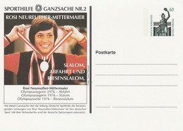 "Bundesrepublik Deutschland - Sporthilfe-Postkarte Nr. 2 ""Rosi Mittermeier, Skisport"" ** (D291) - Illustrated Postcards - Used"