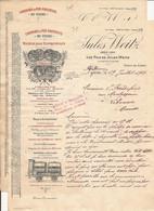 LOT DE 2 FACTURES COURRIERS COMMERCIAUX AVEC ENVELOPPES ILLUSTREES CHEMINS DE FER PORTATIFS WEITZ LYON 1914 - 1900 – 1949