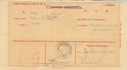 Slovenia SHS 1920 Postal Money Order Rečica V. Sav. Dolini Postage Due Provisory: Chainbreakers 20v Pencil PORTO!! - Slovenia