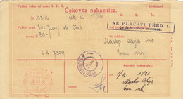 Slovenia SHS 1920 Postal Money Order Sv. Jurij Pri Taboru Postage Due Provisory:Chainbreakers 10v As Postage Due!! - Slovenia