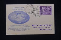 BELGIQUE - Carte Des Journées Aérophilatéliques De Gent En 1946 Pour Bruxelles Avec Vignette Et Cachet Au Dos - L 80216 - Cartas