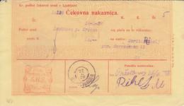 Slovenia SHS 1920 Postal Money Order Leskovec Pri Krškem, Postage Due Provisory: Chainbreakers 40v As Postage Due!! - Slovenia