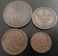 Suède / Svérige - 4 Monnaies Entre 1 Et 5 Öre - 1882 à 1920 - Schweden