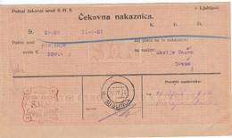 Slovenia SHS 1920 Postal Money Order  Mislinja, Postage Due Provisory: Chainbreakers 20v With Pencil PORTO!! - Slovenia