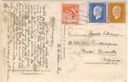 MARIANNE DULAC 10C + 30C  SURTAXE TUBERCULEUX 2F+1F TARIF 2.40F CARTE POSTALE ETRANGER 20/12/45. - 1921-1960: Modern Period