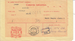 Slovenia SHS 1920 Postal Money Order  Velenje Auxilliary Office ŠKALE, 40 Vin Stamp Used As Postage Due!! - Slovenia