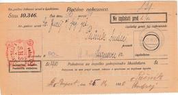Slovenia SHS 1920 Postal Money Order Sv Juraj, Auxilliary Office Sv. Rupert Nad Laškem, Postage Dues - Slovenia