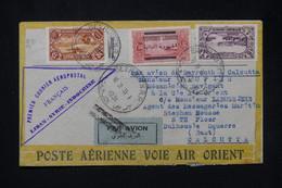LIBAN - Enveloppe De Beyrouth Pour Cacutta En 1931 Par 1er Vol Air Orient Liban/ Syrie / Indochine - L 80222 - Brieven En Documenten
