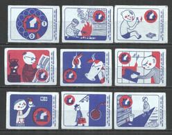 RUSSIA USSR 1966 Matchbox Labels 9v - Matchbox Labels
