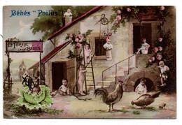 Militaria -- Humoristique  -- Bébés Poilus !  --La Ferme Aux Bébés  (poule,coq...) - Humour