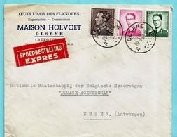 N°1066/67+848A Op EXPRES, Afst. OLSENE 29/09/1966 Naar Telegraafafst. ESSEN-BELG 29/09/1966 - 1953-1972 Brillen