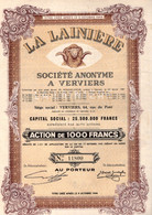 Action De 1000 Frcs Au Porteur - La Lainière S.A. - Verviers 1959. - Textil