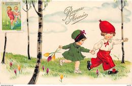 Illustrateurs - N°69221 - Bonne Année N°54 - Enfants Marchant Sous Des Arbres, La Fillette Avec Des Tulipes - Andere Illustrators
