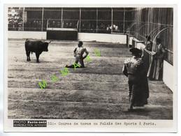 GRANDE PHOTO - PARIS SOIR - CORRIDA - COURSE DE TOROS AU PALAIS DES SPORTS A PARIS - Sport