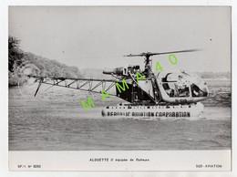 GRANDE PHOTO - HELICOPTERE - ALOUETTE II - EQUIPEE DE FLOTTEURS - SUD AVIATION - Luftfahrt