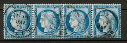 CERES N° 60 (60C) En BANDE DE 4 TIMBRES OBLITÉRÉS CAD DIJON - EN L'ÉTAT (POUR PLANCHAGE ?) - 1871-1875 Ceres