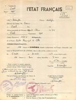 L'ETAT FRANCAIS VILLE DE CASSEL REQUISITION DU CINEMA POUR LES TROUPES ALLEMANDES INDEMNISATION POUR 10 SEANCES - 1939-45