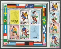 Antigua 1974 Football Soccer World Cup Set Of 4 + S/s MNH - 1974 – West-Duitsland