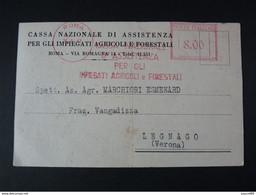 """4900 ITALIA Repubblica EMA-1947- Storia Postale """"Cassa Nazionale Di Assistenza"""" Ordinaria (descrizione) - Machine Stamps (ATM)"""
